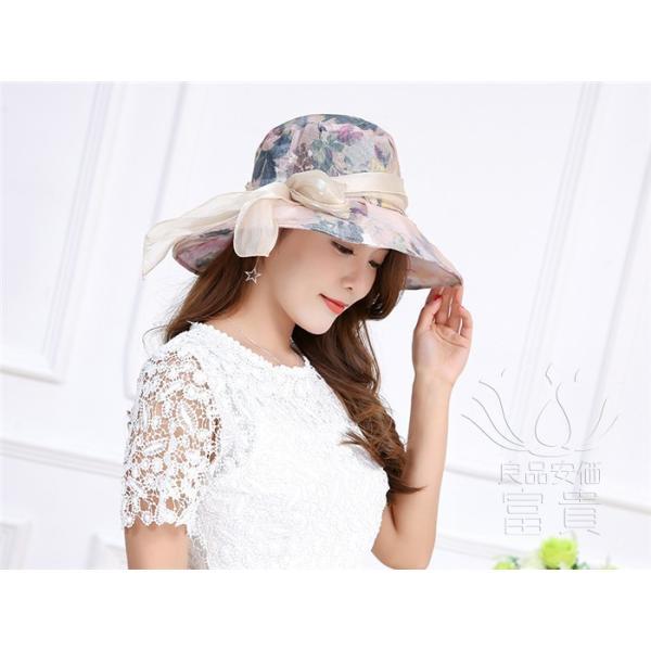 帽子 女性 UVカット 折畳める リボン飾り 花模様 つば広 海、登山 ファッション 通気性良い おしゃれ 春夏秋 女優帽 優雅 フェス、パーティー|fuki-fashion|18