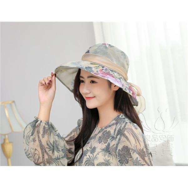 帽子 女性 UVカット 折畳める リボン飾り 花模様 つば広 海、登山 ファッション 通気性良い おしゃれ 春夏秋 女優帽 優雅 フェス、パーティー|fuki-fashion|19