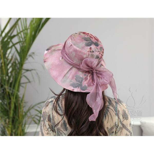 帽子 女性 UVカット 折畳める リボン飾り 花模様 つば広 海、登山 ファッション 通気性良い おしゃれ 春夏秋 女優帽 優雅 フェス、パーティー|fuki-fashion|20