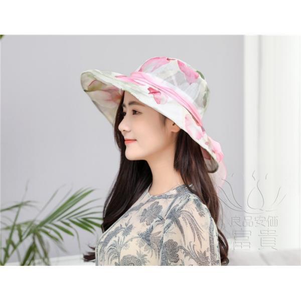 帽子 女性 UVカット 折畳める リボン飾り 花模様 つば広 海、登山 ファッション 通気性良い おしゃれ 春夏秋 女優帽 優雅 フェス、パーティー|fuki-fashion|03