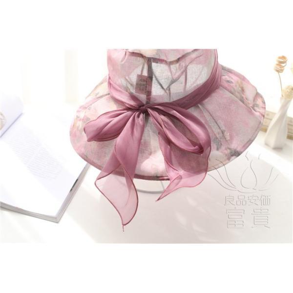 帽子 女性 UVカット 折畳める リボン飾り 花模様 つば広 海、登山 ファッション 通気性良い おしゃれ 春夏秋 女優帽 優雅 フェス、パーティー|fuki-fashion|21