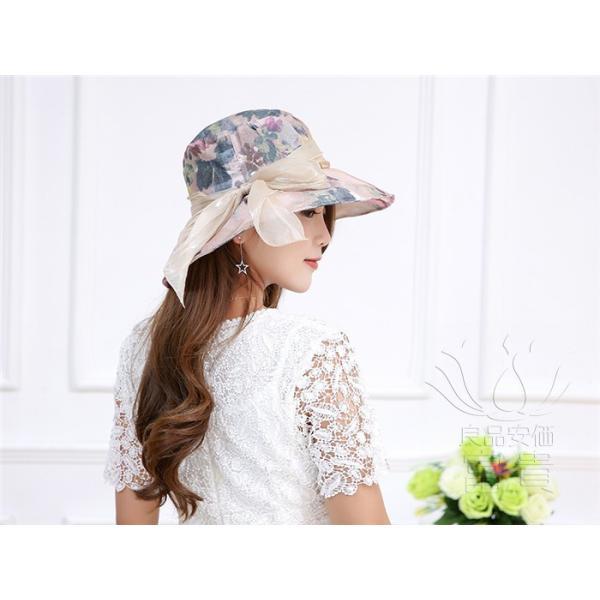帽子 女性 UVカット 折畳める リボン飾り 花模様 つば広 海、登山 ファッション 通気性良い おしゃれ 春夏秋 女優帽 優雅 フェス、パーティー|fuki-fashion|04