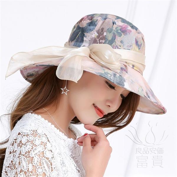 帽子 女性 UVカット 折畳める リボン飾り 花模様 つば広 海、登山 ファッション 通気性良い おしゃれ 春夏秋 女優帽 優雅 フェス、パーティー|fuki-fashion|05