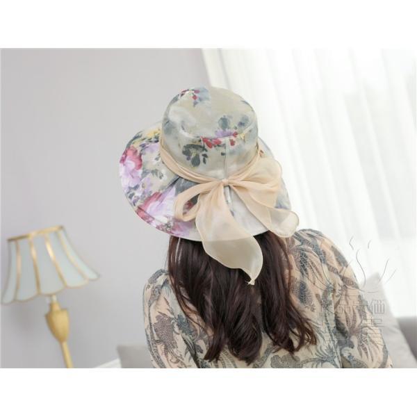 帽子 女性 UVカット 折畳める リボン飾り 花模様 つば広 海、登山 ファッション 通気性良い おしゃれ 春夏秋 女優帽 優雅 フェス、パーティー|fuki-fashion|06