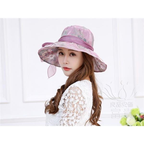 帽子 女性 UVカット 折畳める リボン飾り 花模様 つば広 海、登山 ファッション 通気性良い おしゃれ 春夏秋 女優帽 優雅 フェス、パーティー|fuki-fashion|07