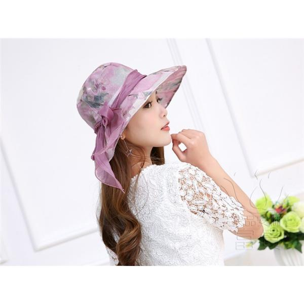 帽子 女性 UVカット 折畳める リボン飾り 花模様 つば広 海、登山 ファッション 通気性良い おしゃれ 春夏秋 女優帽 優雅 フェス、パーティー|fuki-fashion|08