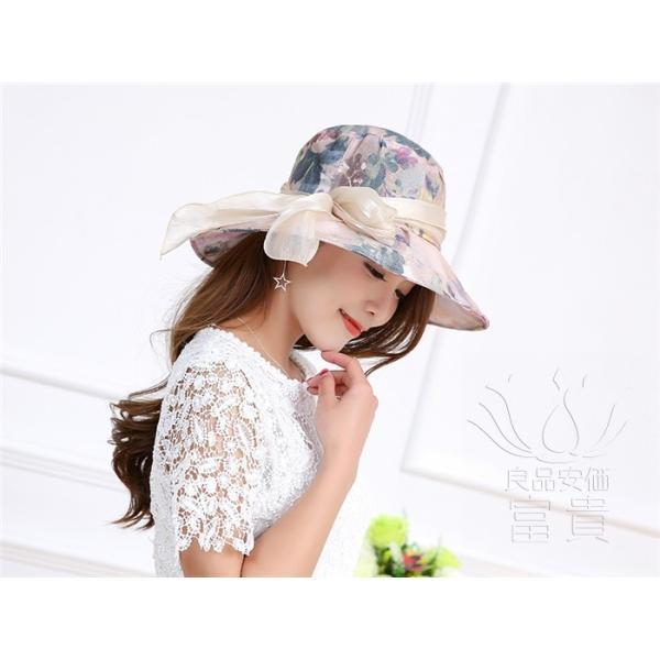 帽子 女性 UVカット 折畳める リボン飾り 花模様 つば広 海、登山 ファッション 通気性良い おしゃれ 春夏秋 女優帽 優雅 フェス、パーティー|fuki-fashion|09