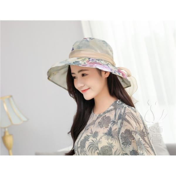 帽子 女性 UVカット 折畳める リボン飾り 花模様 つば広 海、登山 ファッション 通気性良い おしゃれ 春夏秋 女優帽 優雅 フェス、パーティー|fuki-fashion|10
