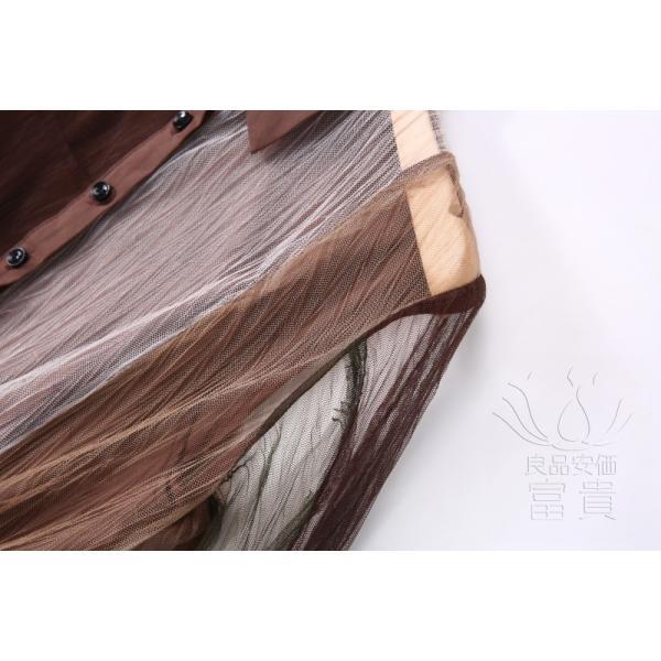 レディースワンピース ロング 長袖 折襟 ストライプ柄 パーティードレス マキシ丈 チュール シースルー フリル ベルト風 シャツ風 キリカエ fuki-fashion 09
