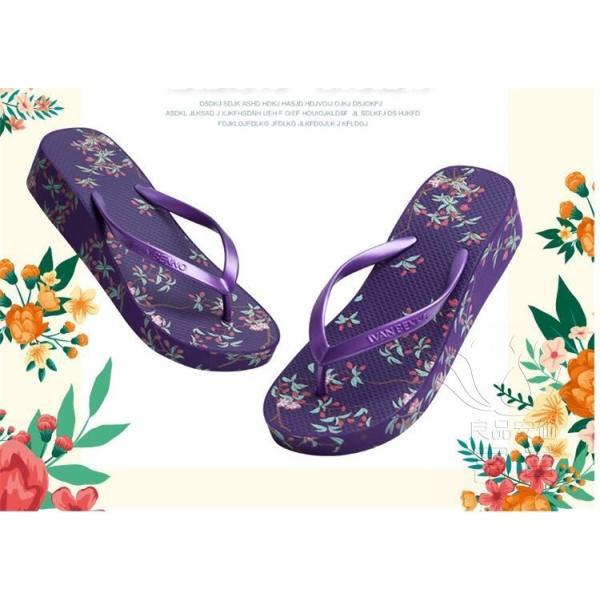 サンダル トング・サンダル ビーチサンダル 靴 厚底 花柄 可愛い 履きやすい 歩きやすい ビーサン  滑り止め 新作 紫 痛くない 履き心地|fuki-fashion|02