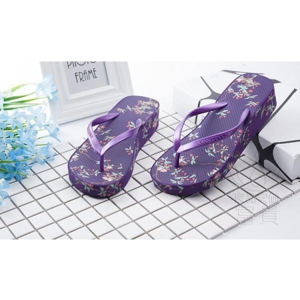 サンダル トング・サンダル ビーチサンダル 靴 厚底 花柄 可愛い 履きやすい 歩きやすい ビーサン  滑り止め 新作 紫 痛くない 履き心地|fuki-fashion|03