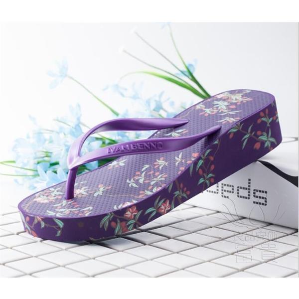サンダル トング・サンダル ビーチサンダル 靴 厚底 花柄 可愛い 履きやすい 歩きやすい ビーサン  滑り止め 新作 紫 痛くない 履き心地|fuki-fashion|05