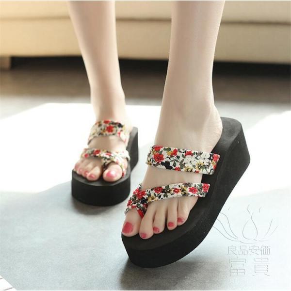 サンダル サムループ・サンダル ビーチサンダル 靴 厚底 花柄 可愛い 履きやすい ビーサン  滑り止め 痛くない オシャレ 新作 楽ちん カジュアル 履き心地|fuki-fashion