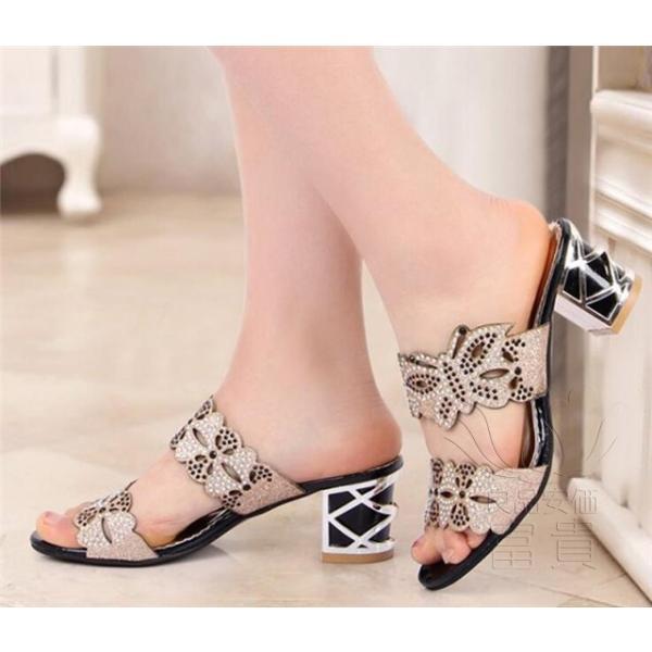 サンダル ヘップ・サンダル ミュール 靴 パンプス ミディアムヒール 太ヒール 軽い 歩きやすい キラキラ オフィス 滑り止め 履き心地  痛くない|fuki-fashion|05