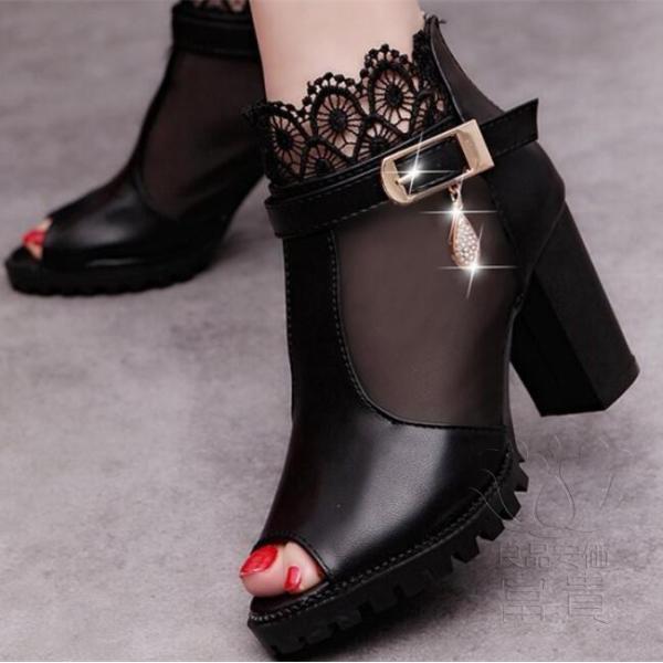 サンダル ハイヒール オープン トー 靴 ウェッジ オシャレ 滑り止め 美脚 オフィス デザイン アウトドア 旅行  ブラック シンプル 歩きやすい|fuki-fashion