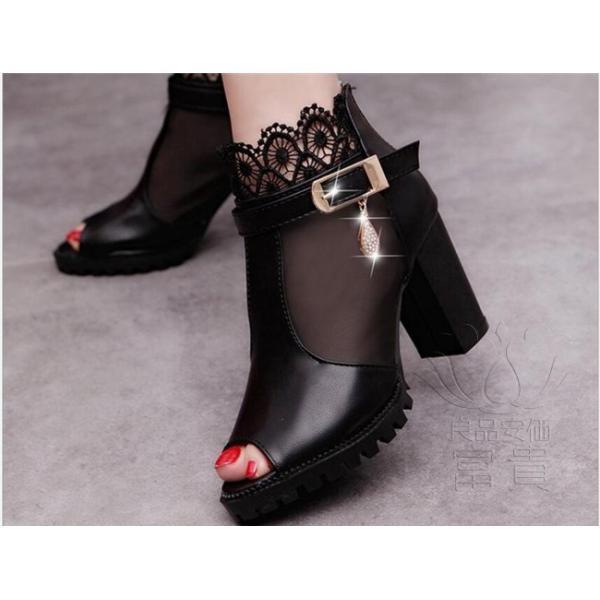 サンダル ハイヒール オープン トー 靴 ウェッジ オシャレ 滑り止め 美脚 オフィス デザイン アウトドア 旅行  ブラック シンプル 歩きやすい|fuki-fashion|05