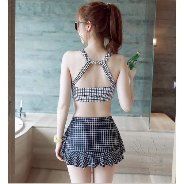 レディース水着 ビキニ2点セット セパレート ハイネック フリル 千鳥格子 総柄 おしゃれ シンプル 可愛い 少女 温泉  人気 おすすめ|fuki-fashion|05