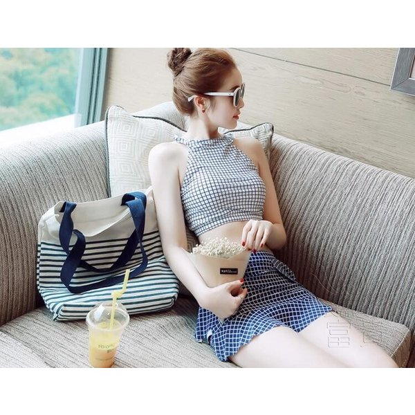 レディース水着 ビキニ2点セット セパレート ハイネック フリル 千鳥格子 総柄 おしゃれ シンプル 可愛い 少女 温泉  人気 おすすめ|fuki-fashion|09