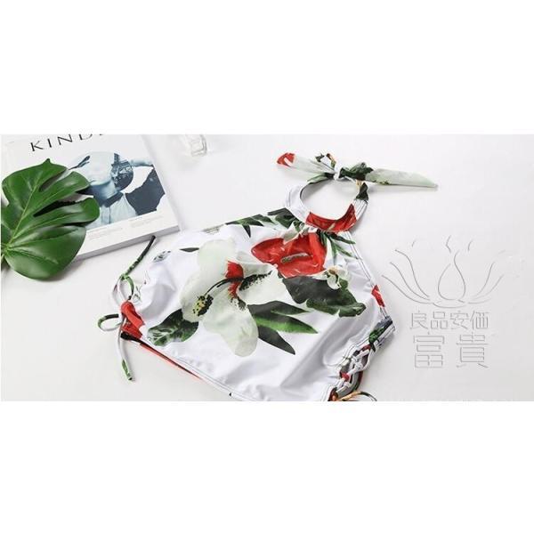 レディース水着 ビキニ2点セット セパレート フレア ホルターネック 花柄 フリンジ リボン ハイウエスト 肩見せ フォークロア 可愛い スクール 学生 少女|fuki-fashion|08