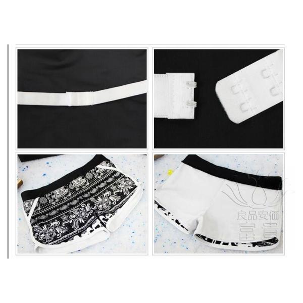 レディース水着 ビキニ2点セット セパレート フィットネス ストライプ柄 黒白 幾何模様 上下別柄 短ズボン スクール 学生 シンプル カジュアル おしゃれ|fuki-fashion|12