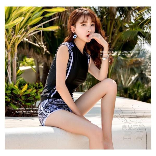 レディース水着 ビキニ2点セット セパレート フィットネス ストライプ柄 黒白 幾何模様 上下別柄 短ズボン スクール 学生 シンプル カジュアル おしゃれ|fuki-fashion|06