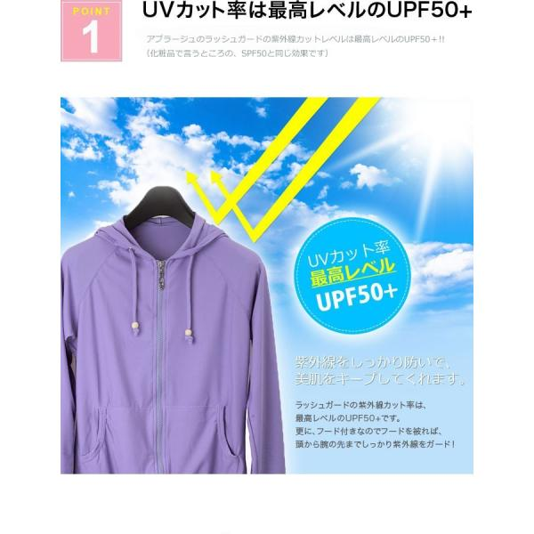 ラッシュガードレディース 水着 体型カバー 長袖 UVカット UPF50+ ラッシュガード レディース パーカー 紫外線対策 速乾 大きいサイズ LL 3L JGO LGA0007|fukkishop|03