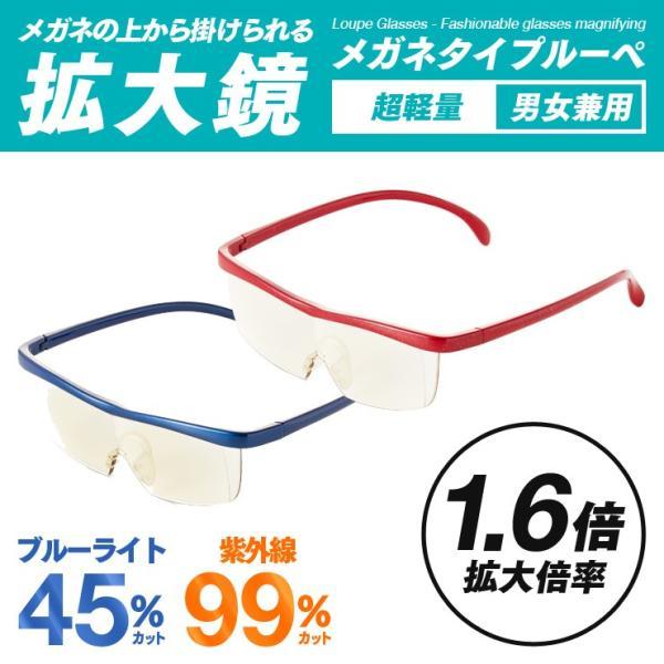 メガネ型ファッションルーペ 1.6倍 拡大鏡 メガネルーペ メガネタイプ ブルーライトカット 軽量 両手が自由に使える ケース付属 男女兼用