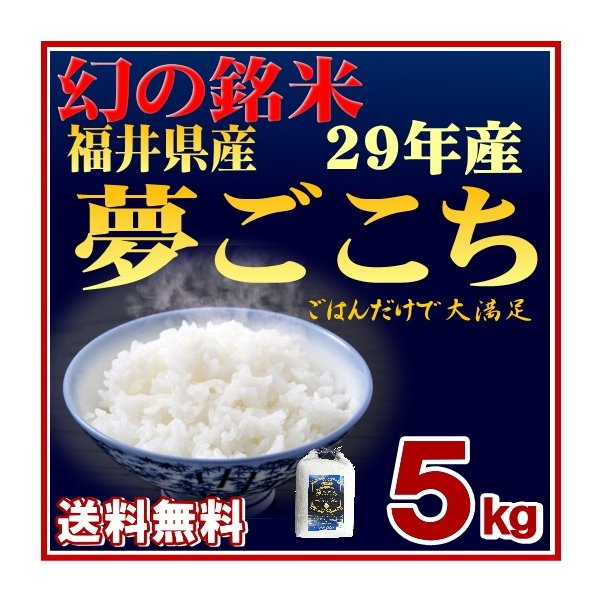 米5kg セール 送料無料  29年産夢ごこち 福井県産 白米|fukuikomeya