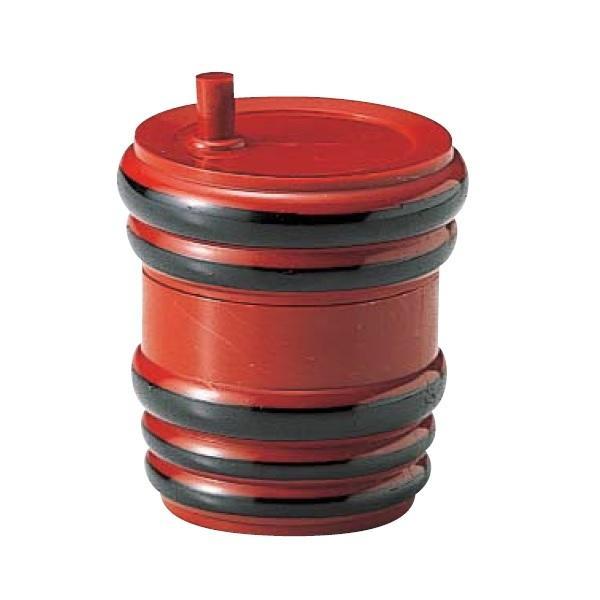 卓上調味料入れ 樽型七味入 朱黒ひも ABS樹脂 f6-841-1