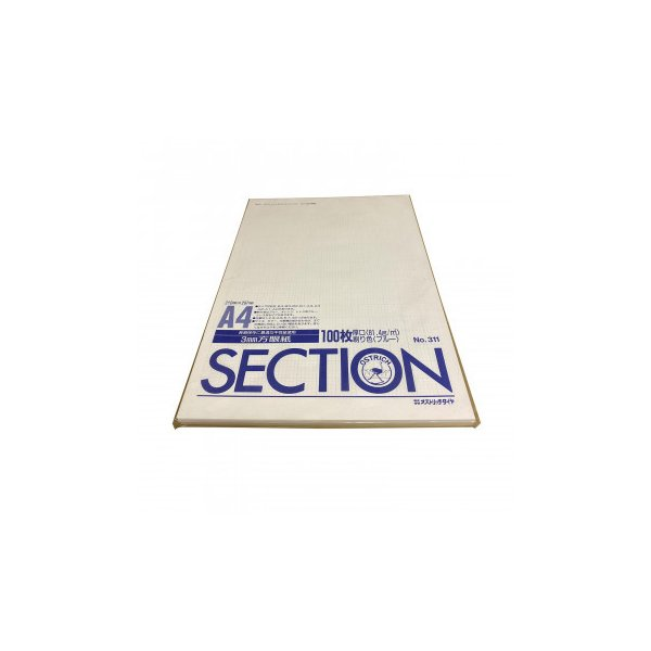 オストリッチダイヤ 3ミリ方眼紙上質紙厚口(81.4g) A4 100枚パック/冊 311