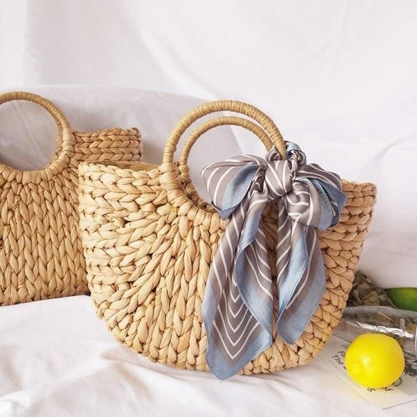 サークルハンドル カゴバッグ ミディアムサイズ ハンドメイド  ショルダーバッグ レディース 草編みバッグ  巾着  リボン付 鞄 かごバッグ  かごバッグ