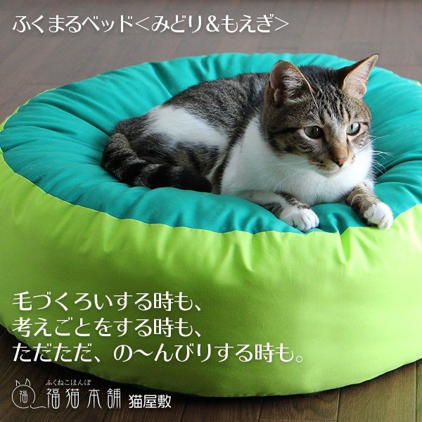 ふくまるベッド(みどり&もえぎ)猫さんの大型ベッド|fukunekohonpo|02