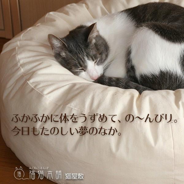 ふくまるベッド 生成り 猫さんの大型ベッド|fukunekohonpo|07