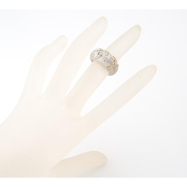 ペイズリー模様 ダイヤモンド 18金ホワイトゴールド 12.5号 リング・指輪【中古】