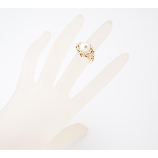 ミキモト 9.2mm アコヤ真珠 ダイヤモンド 18金イエローゴールド/14金ホワイトゴールド 12号 リング・指輪【中古】