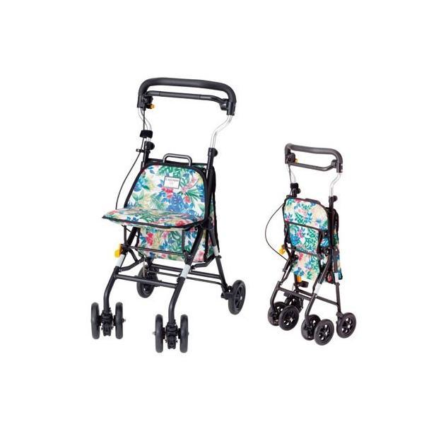 キュートミニW CM-FL フラワー ウィズワン コンパクトタイプ シルバーカー ショッピングカート 介護用品 シニア向け 高齢者|fukushikun