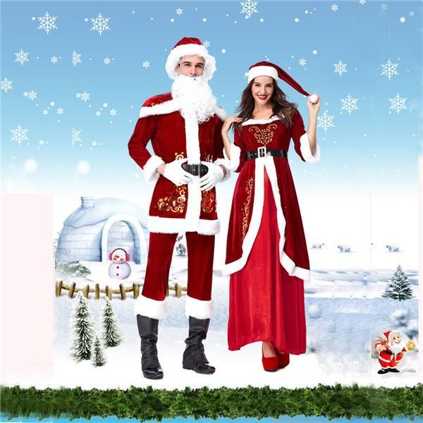 サンタ コスプレ メンズ サンタコス サンタクロース 厚手の生地 7点セット クリスマス X'mas 男性 女性 ペア カップル