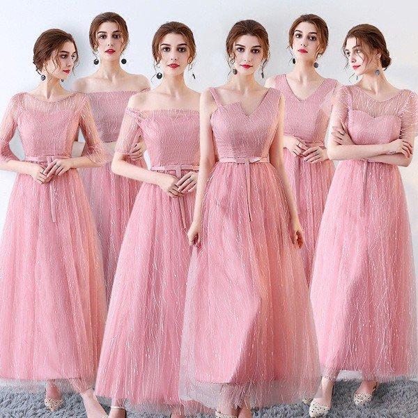 3eb563a4291bc ピンクドレス ロングドレス スレンダーライン 6タイプ パーティードレス ワンピース ブライズメイド ロングドレス 結婚 ...