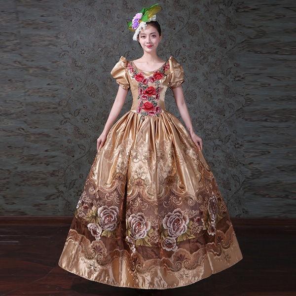 9abc957334408 大花柄ドレス オペラ声楽 中世貴族風豪華お姫様ドレス 舞台衣装やステージ ...