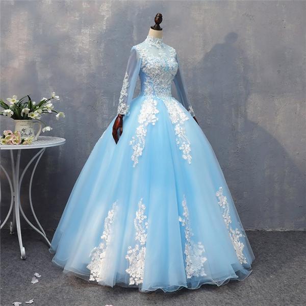 7a01e33e485c9 ... ロングドレス 演奏会 刺繍 長袖 ドレス ロング ステージ 花の妖精 カラードレス ハイネック ロング ...
