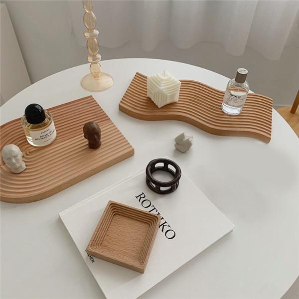 トレイ 木製トレー 水波模様 お盆 木製 トレー 正方形 長方形 楕円形 北欧風 卓上 キッチン ランチ おしゃれ