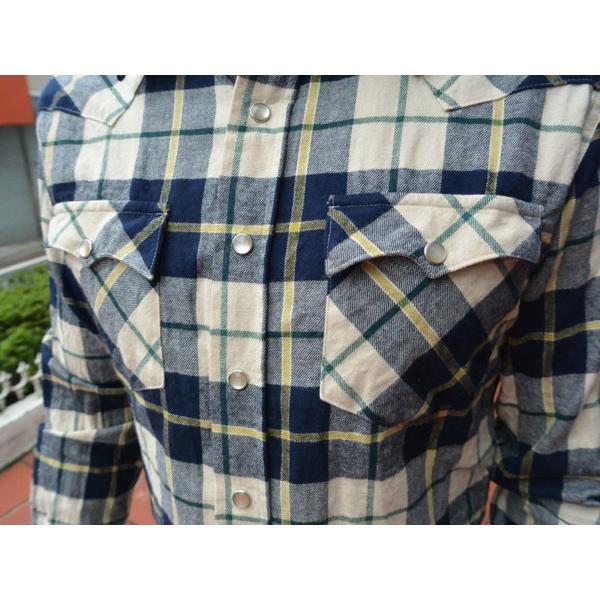 FULLNELSON フルネルソンオリジナル ウエスタンネルシャツ NAVY/BEIGE|fullnelsonhalf|04