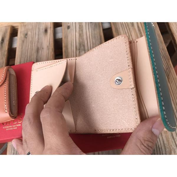 限定カラー OPUS mini Wallet オーパス コンパクト ウォレット ブッテーロレザー PINK& TURQUOISE|fullnelsonhalf|03
