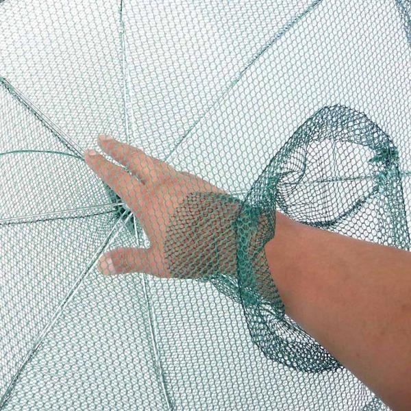 6角網 6穴 八ツ手 仕掛け網 軽量 折り畳み式 コンパクト収納! 92cm エビ、カニや小魚を一網打尽!!