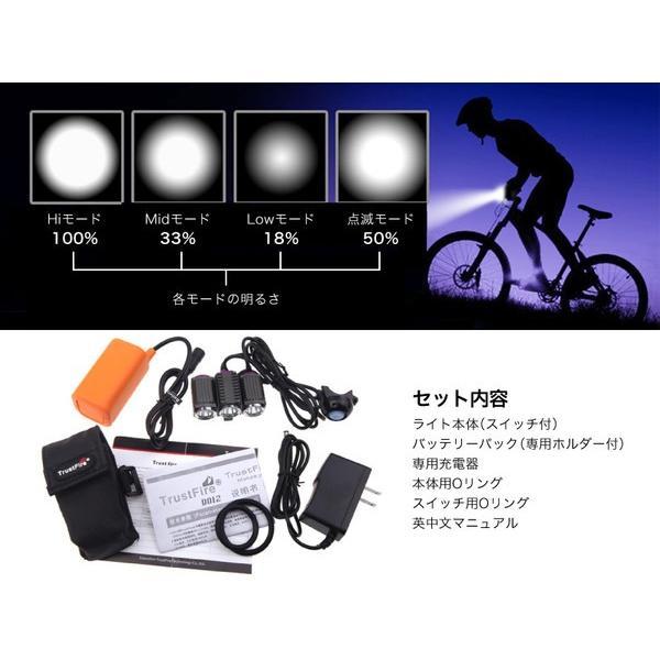 TrustFire 自転車用 LEDライト ヘッドライト TR-D012 トラストファイヤー トラストファイアー IPX4 生活防水 防塵 充電式|funks-store|05