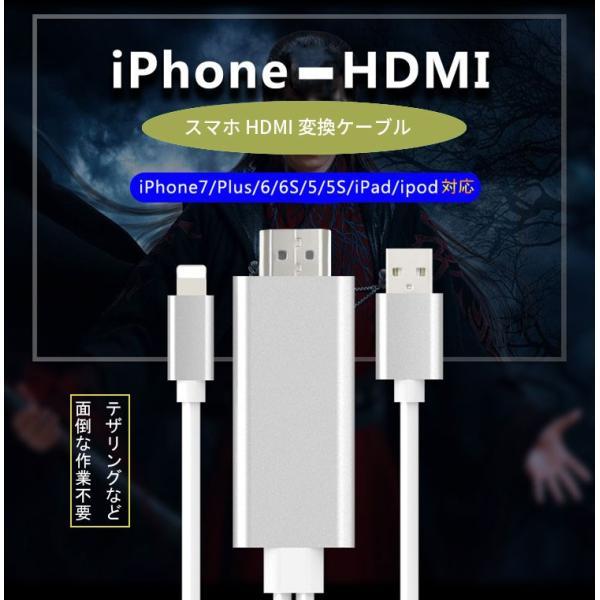 LTtoHDMI変換ケーブルiPhone,iPad対応HD1080P高解像度iPhoneで撮った写真・動画やyoutubeの画面