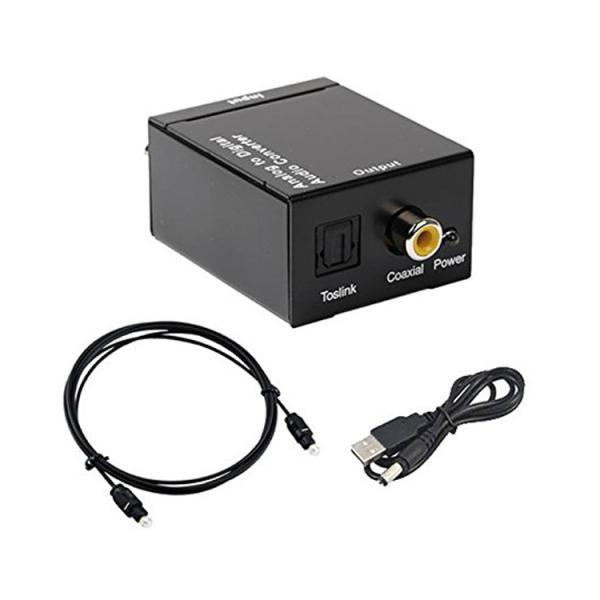オーディオ変換機 アナログ音声RCA(R/L)to光デジタル(Toslink)・同軸デジタル信号変換 光ケーブル付属 48khz対応 変換コンバータ ADC A2DSET2