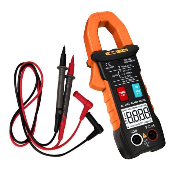 デジタルクランプメーターオートレンジ非接触電流/電圧計AC/DC両用自動極性表示LEDライト抵抗/導通ダイオード測定テストリード