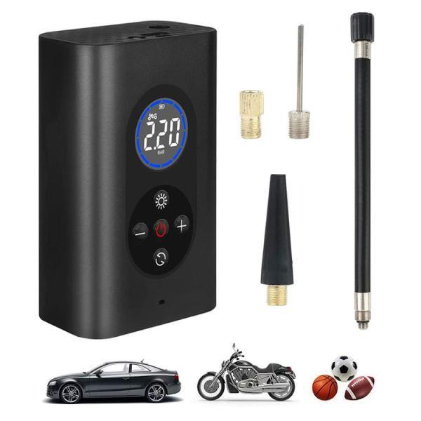 タイヤエアーポンプ USB充電式 電動エアコンプレッサー ポータブル空気入れ コードレス デジタル表示 LEDライト搭載 自転車 バイク 浮き輪 ボールなど WP4000M8