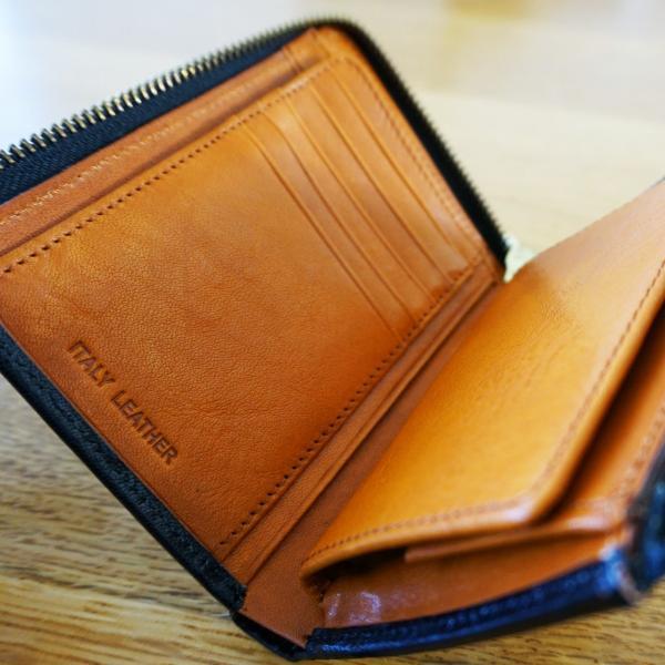 115【送料無料】財布 メンズ 二つ折り 本革 L字ファスナー イタリアンレザー】|funny-gift|03
